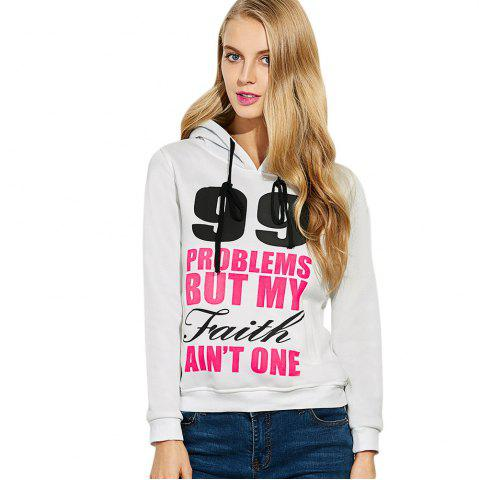 Discount Casual Hooded Long Sleeve Drawstring Letter Print Women Hoodie - L WHITE Mobile