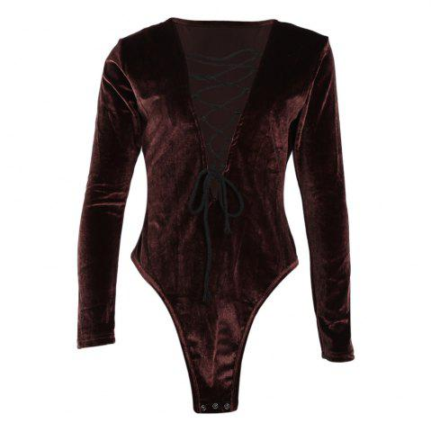 Sexy Criss cross String Slim Jumpsuits Solid Deep V neck Long Sleeve Bodysuits