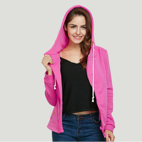 Store Fashion Hooded Long Sleeve Drawstring Zipper Type Women Coat - L WATERMELON RED Mobile