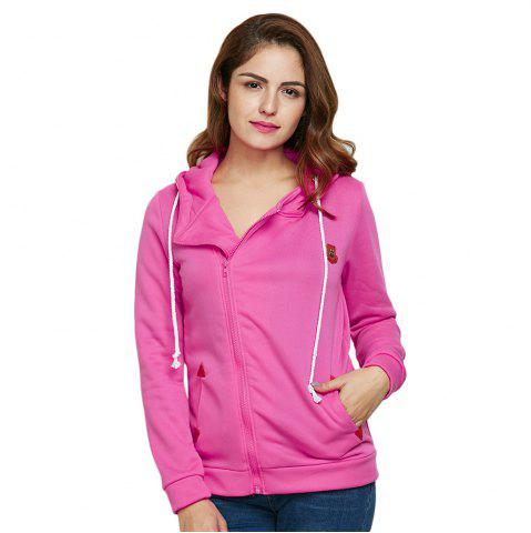 Latest Fashion Hooded Long Sleeve Drawstring Zipper Type Women Coat - L WATERMELON RED Mobile