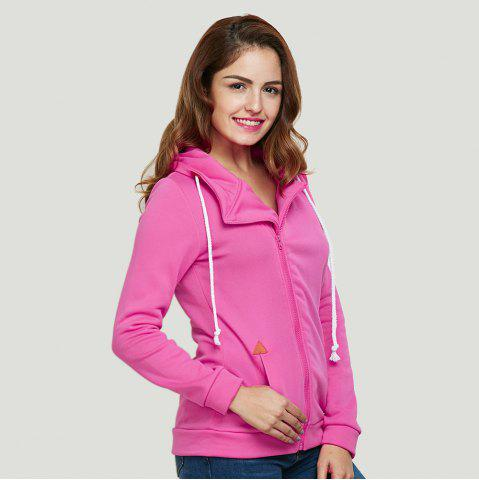 Affordable Fashion Hooded Long Sleeve Drawstring Zipper Type Women Coat - L WATERMELON RED Mobile