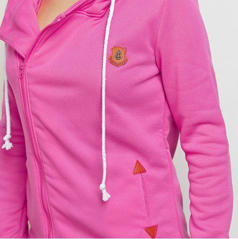 Shops Fashion Hooded Long Sleeve Drawstring Zipper Type Women Coat - L WATERMELON RED Mobile