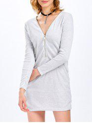 Brief Long Sleeve Plunging Neck Zipper Design Dress for Women