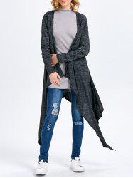Long Sleeve Collarless Hollow Asymmetrical Knit Cardigan