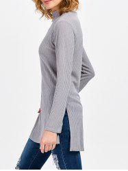 Stylish Long Sleeve Turtleneck Slit Design Knitwear for Women
