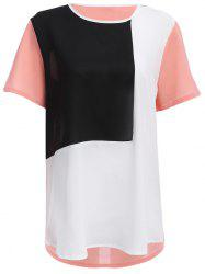 Fashion Round Collar Color Block Spliced Women Chiffon T-shirt - PINK