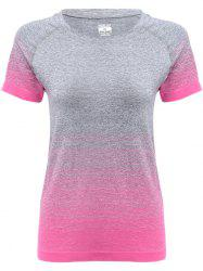 Raglan Short Sleeve Ombre Running Gym T-shirt - ROSE MADDER
