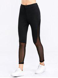 Fashion See-through Sheath Sports Bottom Spliced Women Pants - BLACK