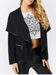 Fashion Turn-down Collar Zipper Pocket Design Women Coat - BLACK