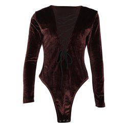 Sexy Criss-cross Lace Up Deep V-neck Long Sleeve High Cut Bodysuits