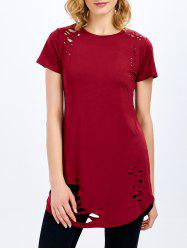 Casual Short Sleeve Round Collar Hollow Design Blouse for Women