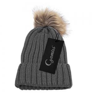 Fashionable Winter Venonat Design Pure Color Knitted Hat for Women - DEEP GRAY