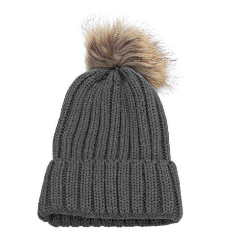 Discount Fashionable Winter Venonat Design Pure Color Knitted Hat for Women DEEP GRAY