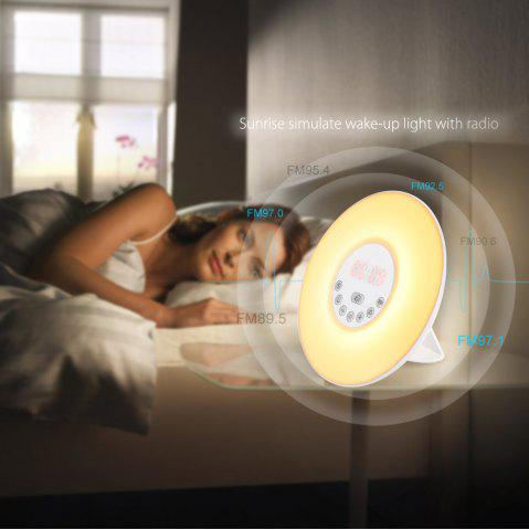 Discount Inlife Wake-up Light FM Radio Time Display Snooze Alarm Clock Bedside Mood Lamp - US PLUG WHITE Mobile