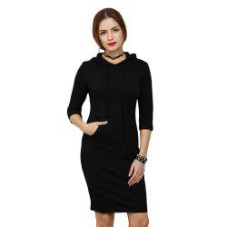 Casual Half Sleeve Pocket Type Pure Color Pullover Hoodie for Women