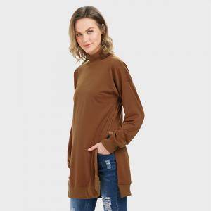 Trendy Long Sleeve Turtleneck Slit Design Brown Sweatshirt for Women - CAMEL L