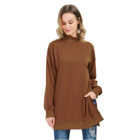 Trendy Trendy Long Sleeve Turtleneck Slit Design Brown Sweatshirt for Women CAMEL L