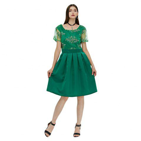 Affordable Floral Print Lace Insert Knee Length Dress - L GREEN Mobile