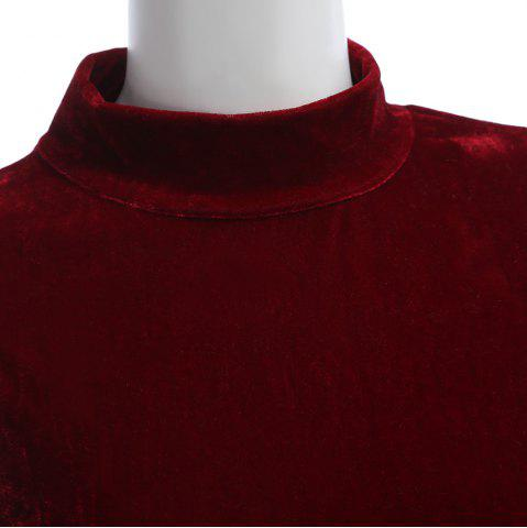 Fancy Sexy Stand Collar Hollow Out Lace-up Zipper Velvet Dress for Women - XL PURPLISH RED Mobile