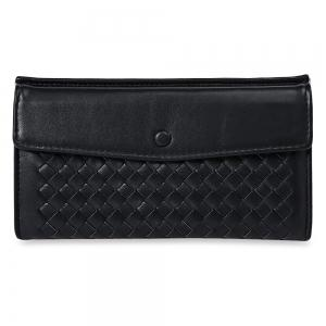 Casual Weaving Design Card Holder Handbag Hasp Wallet for Women - Black