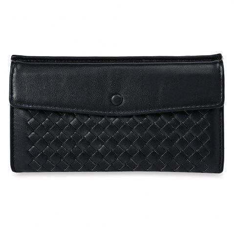 Outfit Casual Weaving Design Card Holder Handbag Hasp Wallet for Women BLACK