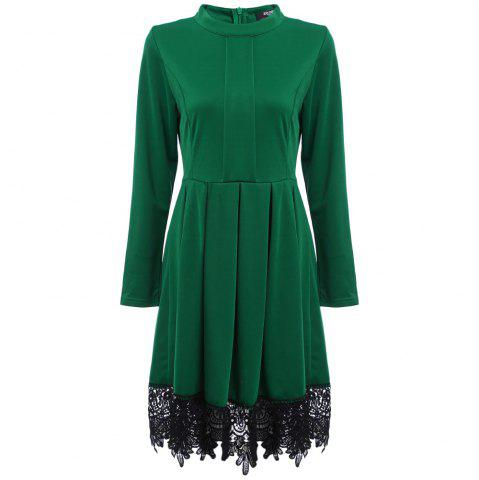 Old Classical Round Collar Long Sleeve Lace Spliced Color Women Dress