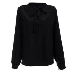 Stylish V-neck Long Sleeve Pure Color Bust Bow Tie Design Women Blouse -