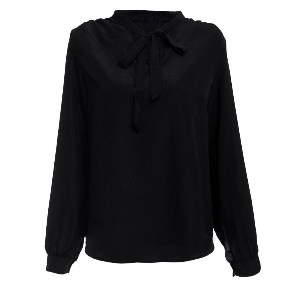 Fashion Stylish V-neck Long Sleeve Pure Color Bust Bow Tie Design Women Blouse