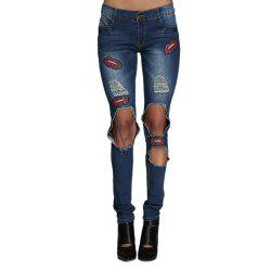 Street Style Mid Waist Patchwork Design Hole Women Jeans