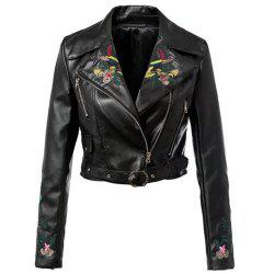 Fashion Turn-down Collar Long Sleeve Zipper Belt Design Embroidery Leather Jacket -