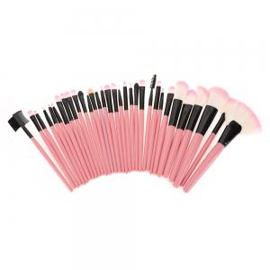 32 Pcs Makeup Brush Set with Faux Leather Pure Color Bag - PINK