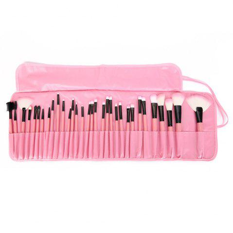 Buy 32 Pcs Makeup Brush Set with Faux Leather Pure Color Bag PINK