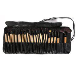 32 Pcs Makeup Brush Set with Faux Leather Pure Color Bag - BLACK