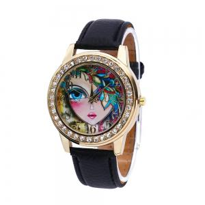 Women Quartz Watch Rhinestone Exquisite Pattern Leather Band Bangle Fashion Wristwatch - Black