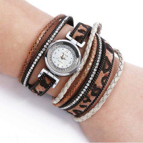 Unique FULAIDA Women Quartz Watch Leather Band Rhinestone Bangle Wristwatch