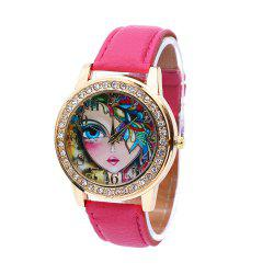 Women Quartz Watch Rhinestone Exquisite Pattern Leather Band Bangle Fashion Wristwatch - ROSE RED