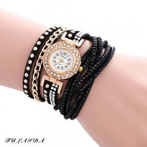 Fulaida Quartz Leather Band Female Rhinestone Watch  Fashion Bracelet Wristwatch - Black - 2xl