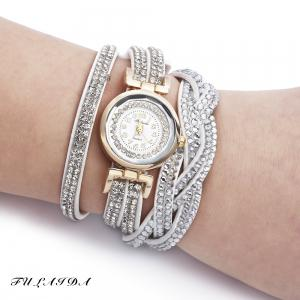 Fulaida Quartz Female Rhinestone Watch Fashion Bracelet Wristwatch Hand Decoration - White