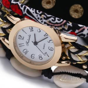FULAIDA Female Quartz Watch Shell Decoration Leather Band Fashion Bangle Wristwatch - BLACK