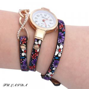 FULAIDA Chic Female Quartz Watch Rhinestone Leather Band Fashion Bangle Wristwatch