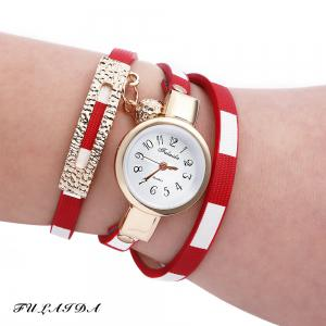 FULAIDA Women Quartz Watch Leather Band Bangle Fashion Wristwatch - Red