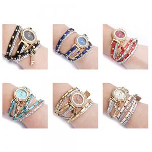FULAIDA Women Quartz Watch Leather Band Rhinestone Bracelet Wristwatch -