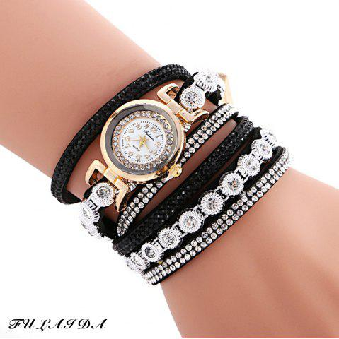 Discount FULAIDA Female Quartz Watch Rhinestone Leather Band Fashion Bangle Wristwatch BLACK