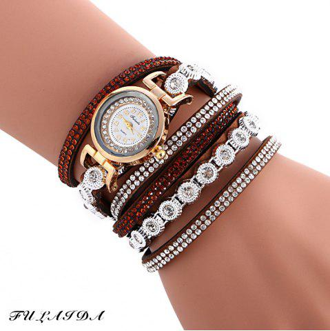 FULAIDA Female Quartz Watch Rhinestone Leather Band Fashion Bangle Wristwatch - Brown