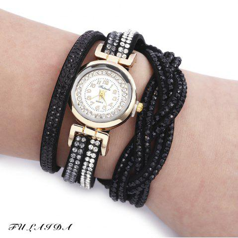Online Fulaida Quartz Female Rhinestone Watch Fashion Bracelet Wristwatch Hand Decoration BLACK