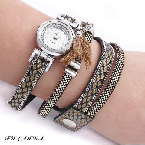 New FULAIDA Women Quartz Watch Leather Band Rhinestone Tassel Decoration Wristwatch