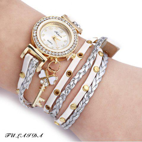 Fashion FULAIDA Women Quartz Watch Leather Band Rhinestone Bracelet Wristwatch