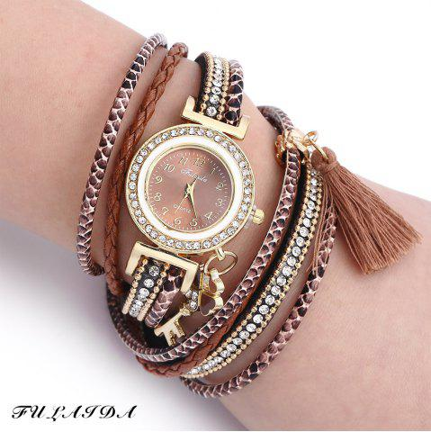 FULAIDA Women Quartz Watch Leather Band Tassel Decoration Rhinestone Wristwatch - Brown