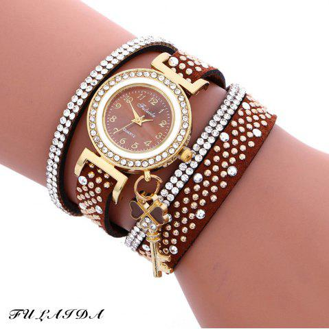 Fulaida Quartz Female Rhinestone Watch Leather Band Hand Decoration Wristwatch - Brown