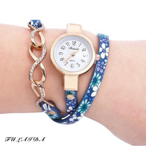 Outfit FULAIDA Chic Female Quartz Watch Rhinestone Leather Band Fashion Bangle Wristwatch BLUE